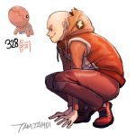 1boy artist_name bald full_body hood hood_down hooded_jacket jacket male_focus orange_pants personification pokemon pokemon_(creature) red_footwear solo squatting tamtamdi trapinch wavy_mouth