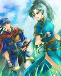 1boy 1girl blue_eyes blue_hair cape field fingerless_gloves fire_emblem fire_emblem:_rekka_no_ken fire_emblem:_souen_no_kiseki fire_emblem_heroes gloves green_eyes green_hair headband high_ponytail ike lyndis_(fire_emblem) nemupon_(goodlucky) ponytail ragnell short_hair sky smile