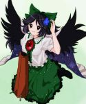 1girl bangs black_eyes black_footwear black_hair black_wings blush bow cape closed_mouth control_rod eyebrows_visible_through_hair flower green_background green_bow green_skirt hair_bow hair_flower hair_ornament kusoyarou long_hair looking_at_viewer reiuji_utsuho short_sleeves skirt smile solo third_eye touhou wings