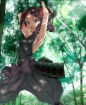 1girl armpits arms_up bangs black_hair black_pants blue_eyes blush bow breasts commentary_request dappled_sunlight erect_nipples flower forest hair_flower hair_ornament halterneck highres holding holding_sword holding_weapon inoumu jpeg_artifacts katana legs_apart nature open_mouth outdoors pants parted_bangs princess_principal puffy_pants purple_bow ribs small_breasts solo standing sunlight sword toudou_chise tree v-shaped_eyebrows weapon