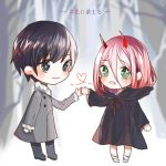 1boy 1girl bandage black_cloak black_footwear black_hair black_pants blue_eyes blush cloak coat commentary_request couple darling_in_the_franxx eyebrows_visible_through_hair fur_trim green_eyes grey_coat hand_holding hetero hiro_(darling_in_the_franxx) hood hooded_cloak horns long_hair looking_at_viewer oni_horns pants parka pink_hair red_horns red_pupils shoes short_hair translation_request tree winter_clothes winter_coat younger zero_two_(darling_in_the_franxx) zhelizhizi