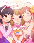 3girls ;d ^_^ ahoge animal_ears black_hair blue_eyes blush brown_eyes brown_hair closed_eyes closed_mouth commentary_request fake_animal_ears hairband hakozaki_serika horns idolmaster idolmaster_million_live! komore long_hair looking_at_another midriff multiple_girls nakatani_iku navel one_eye_closed open_mouth rabbit_ears sheep_horns smile suou_momoko wavy_mouth