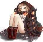 1girl absurdres bangs belt blush brown_eyes brown_hair closed_mouth coat eyebrows_visible_through_hair full_body highres hood_up knees_up legs_together little_red_riding_hood_(sinoalice) lock open_clothes open_coat pigeon-toed relila sidelocks simple_background sinoalice sitting solo symbol-shaped_pupils tareme thighs white_background