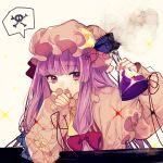 1girl bangs blue_bow blunt_bangs bow capelet commentary_request covering_mouth crescent crescent_hair_ornament daimaou_ruaeru dress fingernails flask hair_bow hair_ornament hands_up hat highres holding long_hair long_sleeves mob_cap patchouli_knowledge potion purple_hair red_bow sketch skull_and_crossbones solo spoken_skull_and_crossbones tears touhou upper_body very_long_hair violet_eyes