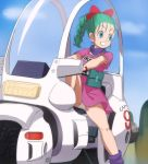 1girl aqua_hair blue_eyes blue_sky braid bulma clouds day dragon_ball ground_vehicle hair_ribbon haruyama_kazunori long_hair looking_away motor_vehicle panties pantyshot pantyshot_(sitting) red_ribbon ribbon short_sleeves single_braid sitting sky smile solo underwear white_panties