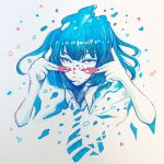 1girl abstract blue blue_hair blue_neckwear collared_shirt commentary_request highres looking_at_viewer monochrome necktie original paint paint_on_fingers shirt short_hair simple_background solo spot_color upper_body wataboku white_background wing_collar