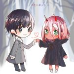 1boy 1girl bandage black_cloak black_footwear black_hair black_pants blue_eyes blush cloak coat commentary_request couple darling_in_the_franxx eyebrows_visible_through_hair fur_trim green_eyes grey_coat hand_holding hetero hiro_(darling_in_the_franxx) hood hooded_cloak horns long_hair looking_at_viewer oni_horns pants parka pink_hair red_horns red_pupils red_skin shoes short_hair translation_request tree winter_clothes winter_coat younger zero_two_(darling_in_the_franxx) zhelizhizi