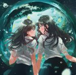 2girls air_bubble bangs black_skirt blouse blush bubble closed_mouth comic_yuri_hime eye_contact fly_(marguerite) from_behind hair_between_eyes hair_ornament hairclip long_hair looking_at_another multiple_girls parted_lips pleated_skirt profile school_uniform short_sleeves skirt tareme underwater white_blouse yuri