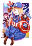 2girls 3boys armor babe_(fate) belt billy_the_kid_(fate/grand_order) black_widow black_widow_(cosplay) blonde_hair blue_eyes blush boots bow_(weapon) breasts bull cape captain_america captain_america_(cosplay) character_request charles_babbage_(fate/grand_order) cleavage commentary_request cosplay fate/grand_order fate_(series) gevjon gloves green_hair hammer hat hawkeye_(marvel) hawkeye_(marvel)_(cosplay) helena_blavatsky_(fate/grand_order) highres long_sleeves marvel multiple_boys multiple_girls nikola_tesla_(fate/grand_order) open_mouth paul_bunyan_(fate/grand_order) purple_hair shield short_hair smile sunglasses teeth thor_(marvel) thor_(marvel)_(cosplay) violet_eyes weapon yellow_eyes