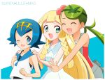 3girls :d ;d blonde_hair blue_eyes blue_hair blue_sailor_collar braid breasts character_name closed_eyes dark_skin dress flower green_eyes green_hair hair_flower hair_ornament hairband koudzuki_(reshika213) lillie_(pokemon) long_hair looking_at_viewer mao_(pokemon) multiple_girls one_eye_closed open_mouth pokemon pokemon_(game) pokemon_sm sailor_collar short_hair small_breasts smile suiren_(pokemon) swimsuit swimsuit_under_clothes trial_captain twintails white_dress
