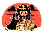 1girl anklet anubis black_hair blush bone dark_skin detached_sleeves dog egyptian egyptian_clothes gold jewelry kneeling legs long_hair looking_down original pelvic_curtain petting setz shirt short_eyebrows smile solo thighs white_shirt