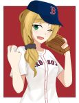 absurdres ball baseball baseball_cap baseball_glove baseball_uniform blonde_hair boston_red_sox cyka ellen_baker green_eyes hat highres major_league_baseball new_horizon one_eye_closed open_mouth red_background solo sportswear