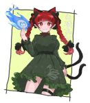 1girl animal_ears bangs black_bow bow cat_ears cat_tail closed_mouth commentary_request cowboy_shot dress extra_ears eyebrows_visible_through_hair fingernails green_dress hair_bow juliet_sleeves kaenbyou_rin kusoyarou long_fingernails long_hair long_sleeves looking_at_viewer multiple_tails puffy_sleeves red_eyes redhead solo tail thigh_strap touhou twintails two_tails