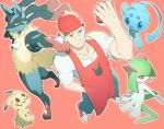 1boy absurdres apron bandaid bandaid_on_nose bandanna from_above green_hair hand_in_pocket highres holding holding_poke_ball kirlia looking_at_viewer lucario male_focus manaphy mimikyu nazono_buru npc_trainer poke_ball pokemon pokemon_(creature) pokemon_(game) pokemon_breeder_(pokemon) pokemon_oras red_apron red_background simple_background smile smirk