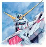 gundam gundam_unicorn hector_trunnec highres mecha no_humans nt-d traditional_media unicorn_gundam watercolor_(medium)