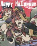 1boy 2girls breasts claw_pose cleavage fingernails fire_emblem fire_emblem:_monshou_no_nazo fire_emblem:_shin_ankoku_ryuu_to_hikari_no_tsurugi hair_between_eyes hair_over_one_eye halloween halloween_costume happy_halloween hat jewelry jiangshi jiangshi_costume large_breasts long_fingernails long_hair long_sleeves looking_at_viewer maria_(fire_emblem) mikimachi minerva_(fire_emblem) misheil_(fire_emblem) multiple_girls nail_polish necklace ofuda open_mouth pearl_necklace profile red_eyes red_nails redhead robe short_hair siblings wide_sleeves