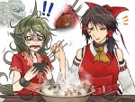 2girls animal_ears ascot bare_arms bare_shoulders bow brown_eyes chocolate_hair chopsticks close-up cloud_print collarbone curly_hair detached_sleeves disgust facepaint fangs food green_eyes green_hair hair_bow hair_tubes hakurei_reimu hand_up hands_up holding_chopsticks horn hotpot kariyushi_shirt komano_aun long_hair looking_at_another medium_hair multiple_girls open_mouth parted_lips red_shirt ryuuichi_(f_dragon) shirt short_sleeves side_ponytail simple_background smile table touhou upper_body white_background