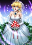 1girl blonde_hair blue_eyes breasts dress field gloves jewelry long_hair looking_at_viewer mario_(series) nintendo piranha_plant ponytail princess_peach smile solo super_mario_bros. super_mario_odyssey tecnomayro veil wedding_dress white_gloves