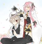 2boys armor armored_dress bangs black_legwear black_ribbon black_skirt blush boots braid cape cloak closed_eyes eyebrows_visible_through_hair fang fate/apocrypha fate_(series) flower garter_straps gauntlets hair_flower hair_ornament hair_ribbon hekikuu_(kanaderuyume) kneeling legs_crossed long_braid long_hair male_focus multicolored_hair multiple_boys one_eye_closed petals pink_hair purple_hair ribbon rider_of_black shirt sieg_(fate/apocrypha) single_braid sitting skirt thigh-highs thighhighs_under_boots thighs trap turtleneck two-tone_hair very_long_hair white_footwear yaoi