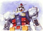 absurdres commentary gundam hector_trunnec highres mecha mobile_suit_gundam no_humans rx-78-2 traditional_media watercolor_(medium)