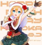 1girl 2017 bell blue_eyes braid brown_gloves character_name cowboy_shot flower frilled_skirt frills fur_trim gloves hair_between_eyes happy_birthday hirako hood kousaka_honoka looking_at_viewer love_live! love_live!_school_idol_project merry_christmas open_mouth orange_hair outstretched_arm skirt snowing solo twin_braids twitter_username waving