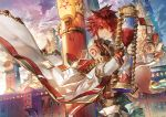 1boy building cloak clock clock_tower clouds cloudy_sky elsword elsword_(character) gloves hourglass male_focus outdoors red_eyes redhead rune_slayer_(elsword) scorpion5050 sky solo tattoo tower zipper