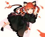 1girl :d animal_ears bangs black_bow blush bow braid breasts cat_ears cat_tail dress extra_ears fang fire frilled_dress frilled_sleeves frills green_dress hair_bow juliet_sleeves kaenbyou_rin long_sleeves looking_at_viewer medium_breasts multiple_tails open_mouth puffy_sleeves red_eyes redhead rin_falcon short_hair_with_long_locks smile solo tail touhou twin_braids two_tails