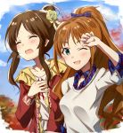2girls autumn bangs blue_bow blue_shirt blue_sky blush bow brown_hair closed_eyes collarbone commentary_request day flower frills green_eyes hair_bow hair_bun hair_flower hair_ornament hand_on_own_chest hand_to_forehead hand_up high_ponytail highres hino_akane_(idolmaster) idolmaster idolmaster_cinderella_girls multiple_girls one_eye_closed open_mouth orange_hair outdoors parted_bangs plaid plaid_bow plaid_shirt ponytail red_sweater scrunchie shirt sidelocks sky smile sweat sweater takamori_aiko takeashiro wavy_hair white_shirt white_sweater