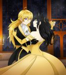 2girls ahoge animal_ears ballroom bare_shoulders beauty_and_the_beast black_gloves blake_belladonna blonde_hair cat_ears dancing dress elbow_gloves eye_contact gloves highres long_hair looking_at_another multiple_girls open-back_dress panties rwby shoulder_blades smile underwear violet_eyes yang_xiao_long yaya_(y8ay8a) yellow_dress yellow_eyes yellow_gloves yuri