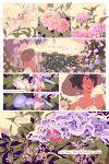 2girls black_hair blush comic commentary english fairy flower full-face_blush garden hat hiding minigirl multiple_girls original peeking_out purple_hair rii_abrego sun_hat violet_eyes yuri