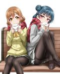 2girls bangs baozi bench black_footwear black_legwear blue_hair blush bow bowtie brown_hair commentary_request crossed_ankles eating eyebrows_visible_through_hair food hair_ornament hairclip holding holding_food knees_up kunikida_hanamaru loafers long_hair long_sleeves love_live! love_live!_sunshine!! miniskirt multiple_girls napkin panties panties_under_pantyhose pantyhose pantyshot pantyshot_(sitting) plaid plaid_scarf pleated_skirt red_scarf scarf school_uniform shoes side_bun simple_background sitting sitting_on_bench skirt thighband_pantyhose tsushima_yoshiko underwear violet_eyes white_background yellow_eyes yellow_neckwear yopparai_oni