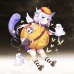 0_0 1girl :3 absurdres bag blue_eyes bow bowtie butterfly candy d: dragon_girl dragon_horns dragon_tail eyebrows_visible_through_hair food ghost hair_bobbles hair_ornament halloween handbag hat highres horns jack-o'-lantern kanna_kamui kobayashi-san_chi_no_maidragon lavender_hair lollipop long_hair looking_at_viewer low_twintails muji_(majunduo) o_o open_mouth pumpkin_costume solo striped striped_legwear tail trick_or_treat twintails wavy_mouth wings