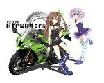 2girls bare_shoulders bow brown_hair choker d-pad green_eyes ground_vehicle hair_bow highres if_(choujigen_game_neptune) motor_vehicle motorcycle multiple_girls neptune_(choujigen_game_neptune) neptune_(series) purple_hair striped striped_legwear violet_eyes zero_(ray_0805)