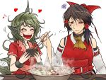 +++ 2girls :d =3 ^_^ animal_ears ascot bare_arms bare_shoulders blush bow brown_eyes chocolate_hair chopsticks closed_eyes closed_mouth cloud_print collarbone curly_hair detached_sleeves facepaint fangs food green_eyes green_hair hair_bow hair_tubes hakurei_reimu hand_up hands_up happy heart holding_chopsticks horn hotpot kariyushi_shirt komano_aun long_hair looking_at_another medium_hair motion_lines multiple_girls musical_note nose_blush open_mouth quaver red_shirt ryuuichi_(f_dragon) shirt short_sleeves side_ponytail simple_background smile sweat sweating_profusely table tail tail_wagging touhou upper_body white_background