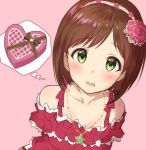 1girl arms_behind_back bangs bare_shoulders blush brown_hair collarbone commentary_request dress flower frills green_eyes hair_flower hair_ornament hairband heart-shaped_box idolmaster idolmaster_cinderella_girls jewelry looking_at_viewer maekawa_miku necklace open_mouth pink_background red_dress short_hair solo swept_bangs takeashiro thought_bubble wavy_mouth