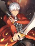 1boy archer dark_skin dark_skinned_male dual_wielding fate/stay_night fate_(series) highres kanshou_&_bakuya male_focus solo_focus sword weapon white_hair