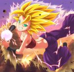 1girl ass aura baggy_pants bangs bare_shoulders blonde_hair breasts butt_crack caulifla chocokin crop_top dragon_ball dragon_ball_super electricity energy_ball floating green_eyes grin highres looking_at_viewer medium_breasts pants parted_bangs purple_pants shiny shiny_hair sky smile solo spiky_hair super_saiyan super_saiyan_2