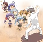 1boy 6+girls :d =_= admiral_(kantai_collection) ahoge akebono_(kantai_collection) arm_warmers bell black_dress black_gloves black_hair black_legwear black_skirt blue_eyes blue_sailor_collar blue_skirt braid brown_eyes brown_hair closed_eyes commentary_request crime_prevention_buzzer double_bun dress drinking fingerless_gloves flower gloves grey_hair grey_skirt hair_bell hair_flower hair_ornament hat jingle_bell kantai_collection kasumi_(kantai_collection) katanon_(suparutan) light_brown_hair long_hair long_sleeves michishio_(kantai_collection) military military_uniform multiple_girls naval_uniform necktie open_mouth peaked_cap pinafore_dress pleated_skirt purple_hair red_flower red_neckwear remodel_(kantai_collection) sailor_collar school_uniform serafuku shigure_(kantai_collection) shirt short_hair short_sleeves side_ponytail silver_hair single_braid skirt smile suspenders thigh-highs uniform ushio_(kantai_collection) violet_eyes white_shirt yamagumo_(kantai_collection)
