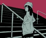 1girl beanie black_eyes black_hair black_skirt from_behind hands_in_pockets hat hosoo jacket long_sleeves looking_at_viewer looking_back monochrome original pink_background railing skirt solo stairs standing