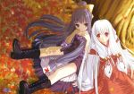 2girls highres japanese_clothes kimono miko multiple_girls tsuki_kagerou wallpaper