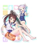 2girls :d absurdres bangle bangs bare_legs barefoot blue_eyes blue_hair blue_swimsuit blush bracelet brown_hair character_request collarbone competition_school_swimsuit cosplay covered_navel english eyebrows_visible_through_hair full_body gotou_hisashi hair_ornament hairclip halftone halftone_background highres inflatable_torpedo inflatable_toy jewelry kantai_collection multiple_girls name_tag neckerchief open_mouth outstretched_arm ponytail red_neckwear school_swimsuit school_uniform serafuku shirt short_hair short_sleeves sidelocks sitting smile swept_bangs swimsuit swimsuit_under_clothes tareme transparent two_side_up v white_shirt x_hair_ornament yellow_eyes