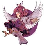 1girl bird_wings blush claws commentary feathered_wings frills hat monster_girl mystia_lorelei petticoat pink_hair rii_abrego short_hair solo tail talons touhou wings