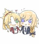 2girls black_bow blonde_hair blue_eyes blush bow braid chibi fate/apocrypha fate_(series) green_eyes hair_bow hand_holding heart jeanne_d'arc_(fate) jeanne_d'arc_(fate)_(all) multiple_girls no_nose one_eye_closed open_mouth ponytail saber_of_red single_braid sparkle white_background yukari__(bryleluansing)