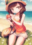 1girl allen_(makaroll) bag bangs beach black_hair blue_eyes blush breasts cleavage clouds day flower grass half-closed_eyes hat mizuki_(pokemon_ultra_sm) ocean outdoors poke_ball pokemon pokemon_(game) pokemon_ultra_sm seiza shorts sitting sky small_breasts smile solo sun_hat swept_bangs tank_top white_shorts