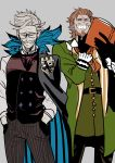 2boys absurdres beard book caster_of_red chin_stroking cravat facial_hair fate/apocrypha fate/grand_order fate_(series) glasses green_coat grey_background grey_hair grin hands_in_pockets highres james_moriarty_(fate/grand_order) looking_at_viewer male_focus multiple_boys mustache nippar orange_hair pinstripe_pattern simple_background sketch smile striped