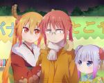3girls blush closed_mouth dragon_girl eyebrows_visible_through_hair glasses highres kanna_kamui kobayashi-san_chi_no_maidragon kobayashi_(maidragon) kukie-nyan long_hair looking_at_another multicolored_hair multiple_girls orange_hair parted_lips ponytail purple_hair red_eyes redhead short_hair short_ponytail silver_hair smile tooru_(maidragon) twintails two-tone_hair