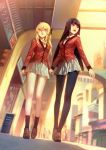 2girls absurdres arms_at_sides bare_legs black_hair black_legwear black_neckwear blonde_hair blurry blurry_background bolo_tie breasts collared_shirt commentary day dutch_angle from_below hair_ribbon hand_grab hand_holding highres hime_cut jabami_yumeko kakegurui loafers long_hair looking_away medium_breasts multiple_girls open_mouth outdoors pantyhose parted_lips pleated_skirt red_blazer red_eyes ribbon saotome_meari school_uniform shade shirt shoes shopping_district sidewalk skirt smile socks storefront sunlight thumb_ring two_side_up very_long_hair walking white_shirt white_skirt yellow_eyes yuri zema_haru