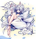 1girl absurdres animal_ears azur_lane bangs bare_legs barefoot blue_eyes blue_skirt breasts cleavage cleavage_cutout clouds eyebrows_visible_through_hair fox_ears fox_mask fox_tail full_body highres holding holding_mask kaga_(azur_lane) knees_up long_sleeves looking_at_viewer mask multiple_tails parted_lips pleated_skirt short_hair silver_hair skirt smile solo tail tetsu_(excalibur920) toe_scrunch wide_sleeves wristband