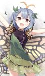 :d antennae blue_hair blush breasts brown_eyes butterfly_wings commentary ears eternity_larva green_skirt leaf looking_at_viewer medium_breasts minust open_mouth short_sleeves skirt smile standing touhou white_background wings