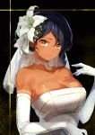 1girl asymmetrical_hair bare_shoulders black_background black_hair blue_hair breasts bridal_veil brown_eyes choker cleavage dark_skin dress elbow_gloves eyebrows eyebrows_visible_through_hair flower gloves hair_flower hair_ornament highres konbu_wakame large_breasts lily_(flower) looking_at_viewer medium_hair mole mole_on_breast mole_under_mouth original smile solo strapless strapless_dress tsurime upper_body veil wavy_hair wedding_dress white_dress white_flower white_gloves yellow_eyes